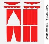 set of red silk velvet curtains ... | Shutterstock .eps vector #536883892