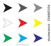 arrow icons. set of flat style. ... | Shutterstock .eps vector #536885356
