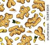 ginger seamless vector hand... | Shutterstock .eps vector #536893045