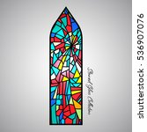 arch stained glass decorative... | Shutterstock .eps vector #536907076