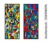 two stained glass decorative... | Shutterstock .eps vector #536908096
