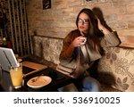 pensive female student sitting...   Shutterstock . vector #536910025