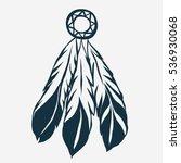 tribal feathers dreamcatcher.... | Shutterstock .eps vector #536930068