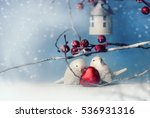 two cute ceramic birds in love... | Shutterstock . vector #536931316