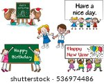 vector cartoon kids with... | Shutterstock .eps vector #536974486