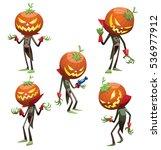 vector set of five cartoon... | Shutterstock .eps vector #536977912