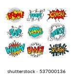 collection of nine multicolored ... | Shutterstock .eps vector #537000136