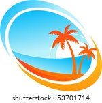 tropical background with palm... | Shutterstock .eps vector #53701714