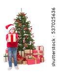 little girl in christmas box  | Shutterstock . vector #537025636
