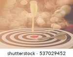 darts arrows in the target... | Shutterstock . vector #537029452