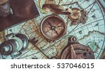 retro brass compass with cover... | Shutterstock . vector #537046015