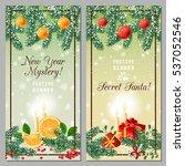winter holidays banners. vector ... | Shutterstock .eps vector #537052546