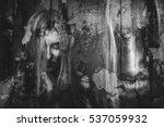 double exposure of ghost girl... | Shutterstock . vector #537059932