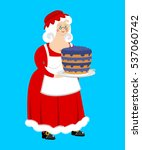 mrs. claus and blueberry cake.... | Shutterstock . vector #537060742