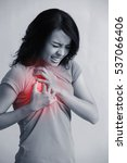 Small photo of Woman with chest pain, great for prevention breast cancer concept