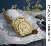 sweet roll on white paper and... | Shutterstock . vector #537070426