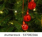 christmas tree with red and... | Shutterstock . vector #537082366
