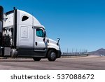 white semi truck going on the... | Shutterstock . vector #537088672