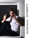 young handsome bearded sexy... | Shutterstock . vector #537088975