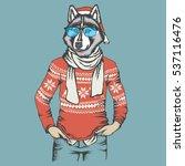 christmas vector dog concept.... | Shutterstock .eps vector #537116476