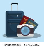 suitcase with travel related... | Shutterstock .eps vector #537120352