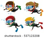 four kids scuba diving... | Shutterstock .eps vector #537123208