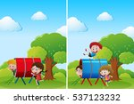 children playing in playground... | Shutterstock .eps vector #537123232