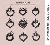 Fired Heart Icons Set  Flaming...