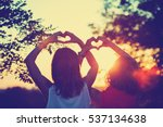 girl friends making a heart... | Shutterstock . vector #537134638