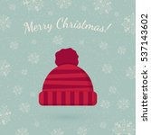 winter hat on winter backdrop.... | Shutterstock .eps vector #537143602