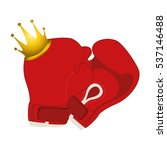 gold crown with boxing gloves... | Shutterstock .eps vector #537146488