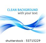Vector horizontal abstract blue wave clean background - stock vector
