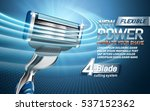 power shavers ad with four blades, light blue background, 3d illustration | Shutterstock vector #537152362