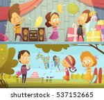 happy kids having fun dancing... | Shutterstock .eps vector #537152665
