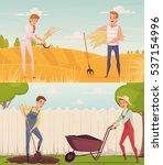 two gardener farmer cartoon... | Shutterstock .eps vector #537154996