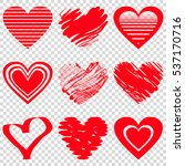 red heart icons. vector... | Shutterstock .eps vector #537170716