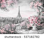 oil painting  summer in paris.... | Shutterstock . vector #537182782