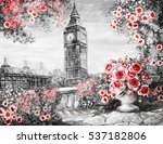 oil painting  summer in london. ... | Shutterstock . vector #537182806