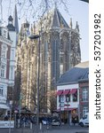 Small photo of Aachen cathedral is world heritage site, on Dec 5, 2016 in Aachen, Germany Christmas market.