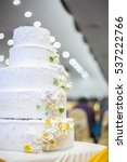 white wedding cake with flowers ... | Shutterstock . vector #537222766