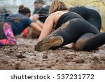 mud race runners.crawling... | Shutterstock . vector #537231772