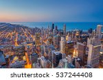 Chicago. Cityscape image of Chicago downtown during twilight blue hour. - stock photo