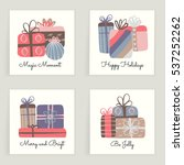 four cards. hand drawn creative ... | Shutterstock .eps vector #537252262