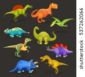 Set Of Various Dinosaurs Of...