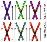 ski and sticks vector... | Shutterstock .eps vector #537279622