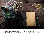 open notepad on the old table... | Shutterstock . vector #537285112