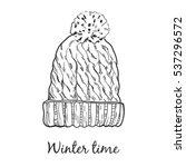 wool warm winter  hat. vector... | Shutterstock .eps vector #537296572