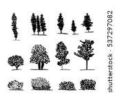 set of trees. black and white... | Shutterstock .eps vector #537297082