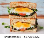 poached eggs sandwich for... | Shutterstock . vector #537319222