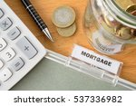 mortgage file with calculator ...   Shutterstock . vector #537336982